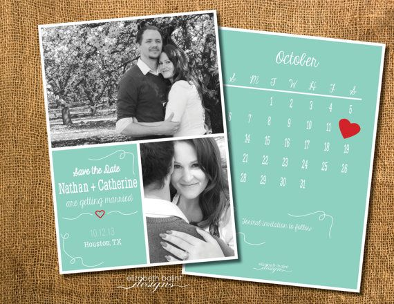 Save the Date with two pictures and Calendar on the by ElizabethBalint