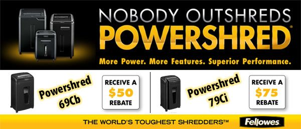 #Save up to $75 on select #Fellowes #Powershred Shredders. Offer valid until September 30, 2013.
