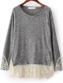 Grey Long Sleeve Contrast Lace Loose T-Shirt US$22.17