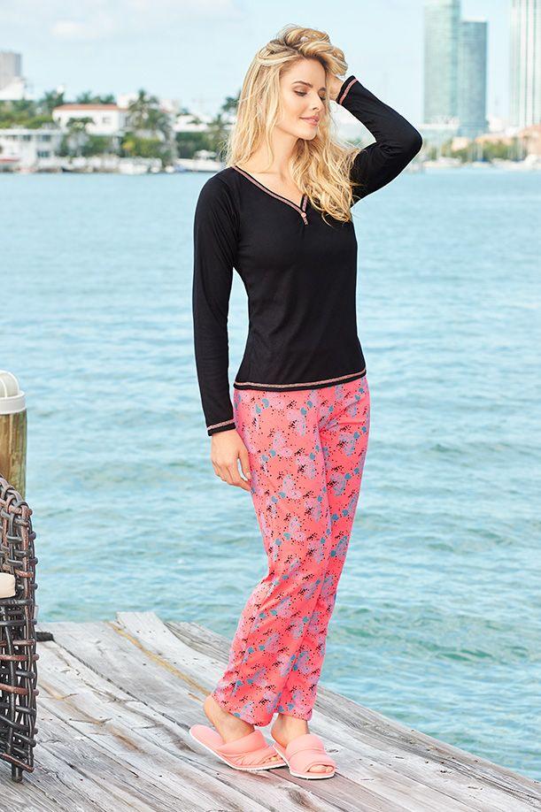 Pijama manga larga / pantalón Coral neón - Confite S-M-L-XL Poliéster/Algodón