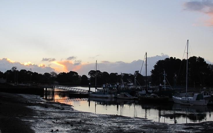 Sunset, river at Wynyard, Tasmania.