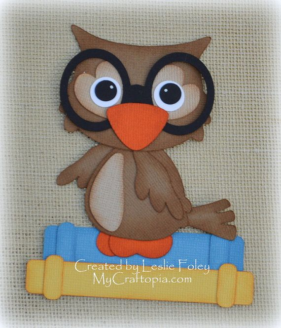 Owl with books Premade Scrapbooking Embellishment by MyCraftopia, $4.95