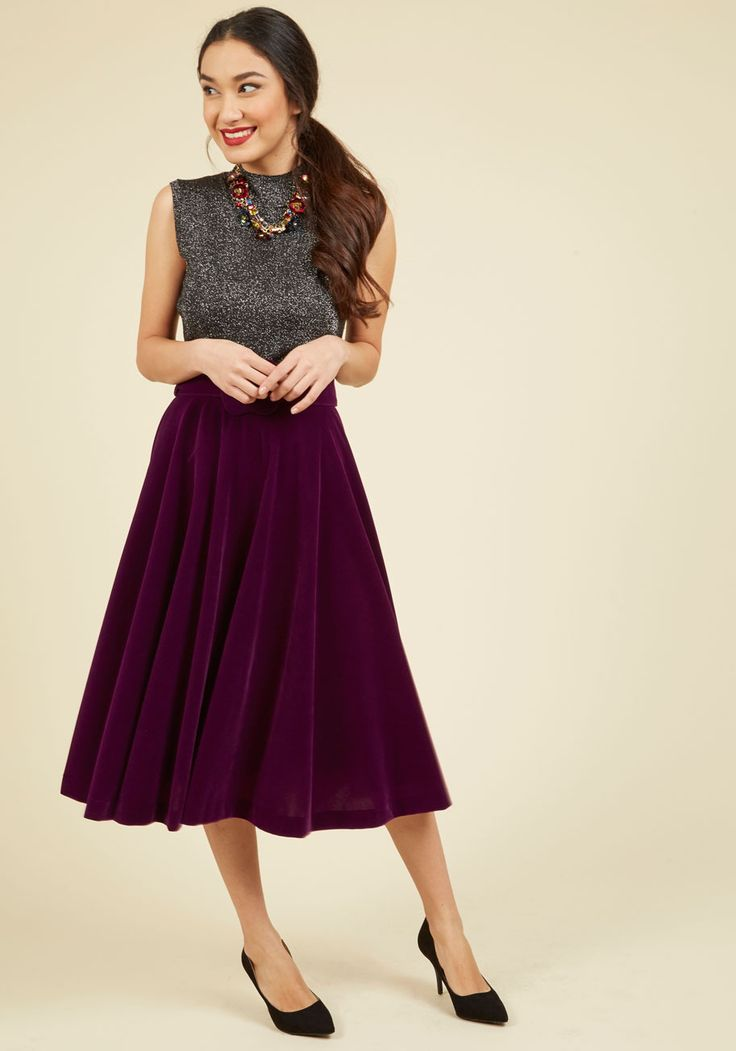 Make Your Presence Throne Skirt | Mod Retro Vintage Skirts | ModCloth.com Royally clothed in this purple velvet skirt, you command attention and amass compliments, inspiring onlooking stylistas! With a swishing midi silhouette, a boldly buckled belt, and a way of making every outfit wow-worthy, this skirt offers ever-present panache that reigns over other ensembles.