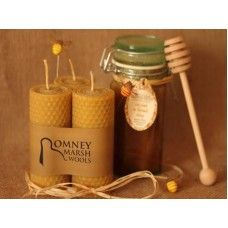 Trio of Hand-Rolled Natural Beeswax Candles Made by Romney Marsh Wools in #Kent - £16.95