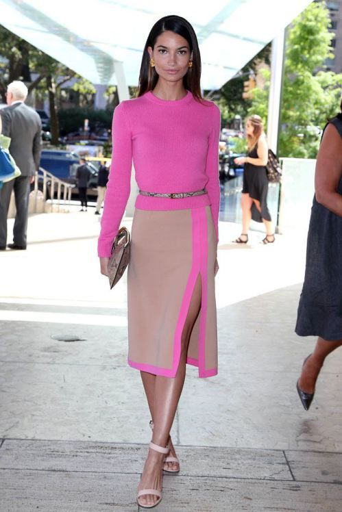 Fuchsia nude split dress fashion pinterest el color conjuntos y ponerse Style me pink fashion show