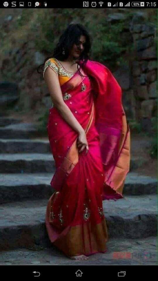 Celebrate Lakshmi pooja with this beautiful silk saree with grand work.. To buy, pls WhatsApp on +91 94929 91857 #maggam #uppada #designer #ethnic