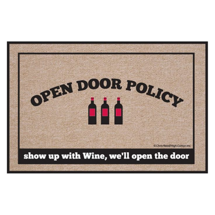 High Cotton Open Door Policy Wine Indoor / Outdoor Doormat - M713