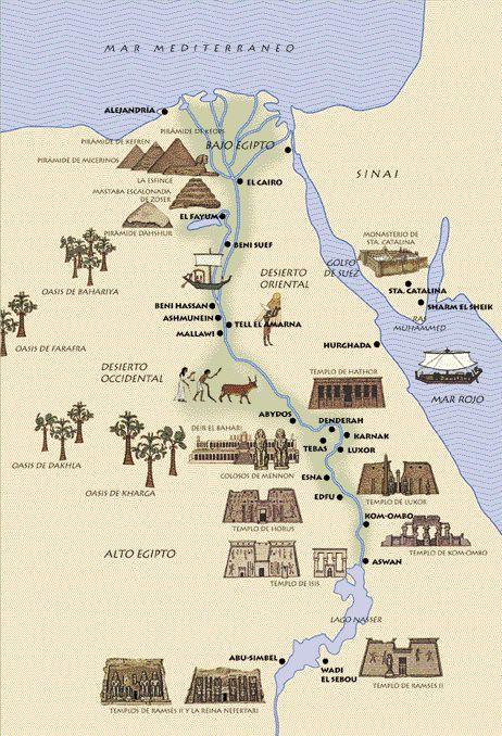 Mapa de lugares y templos de Egipto