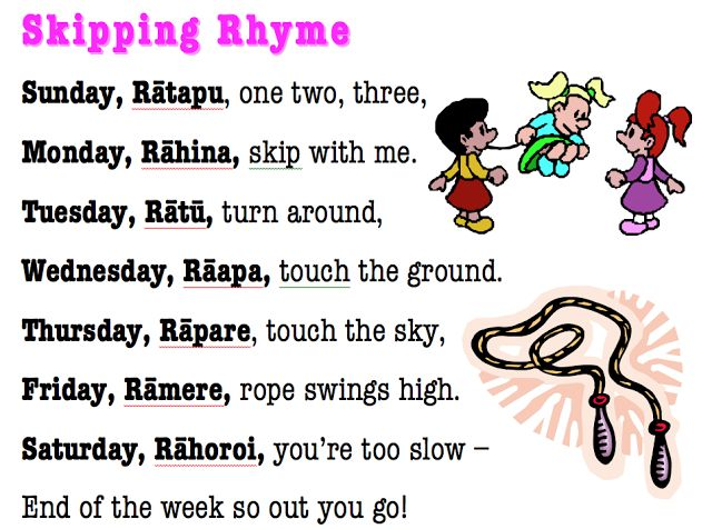 cool rhyme to help children with learning Te Reo days of the week.