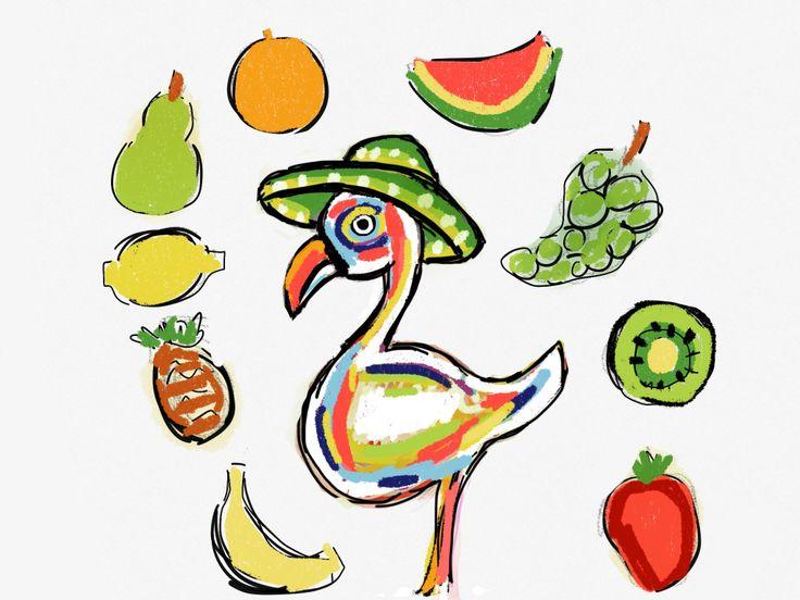Ilustración Flamenco con sombrero y frutas, dieta saludable. www.ignasimiralbellriera.com