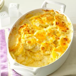 Sharp Cheddar Scalloped Potatoes Recipe from Taste of Home