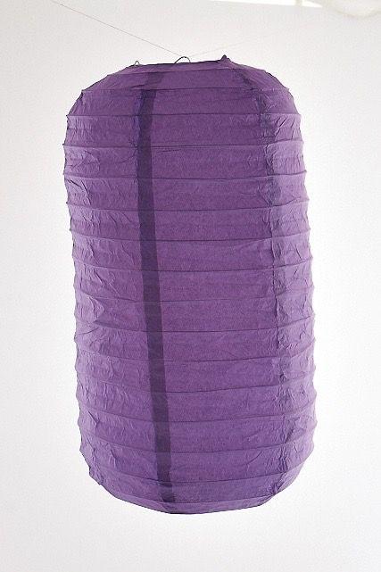 Lanterna di carta di riso da appendere Tubolare, colore Viola. Diametro 30 cm, altezza 48 cm con gancio.