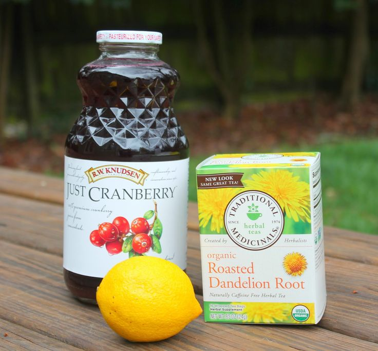 detox drink:  64 oz purified water, 1 bag Dandelion Root Tea, 1 tablespoon pure Cranberry Juice, 2 tablespoons Lemon Juice. Make the tea as directed on the box. Cool to room temperature and add it to your container. Mix in the lemon juice, cranberry juice, and fill with filtered water up to 64 ounces. Drink one full 64 oz container every day for seven days.