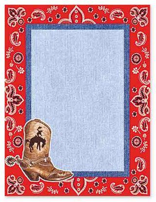 Western Clip Art Border | Cowboy Boots Border Clip Art