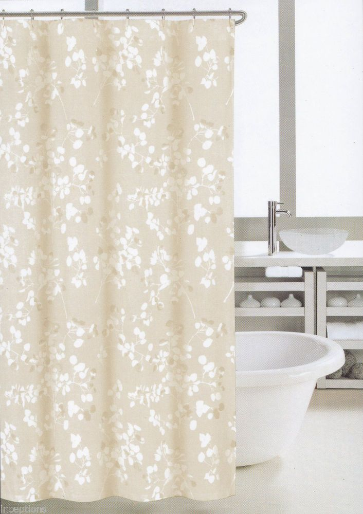 Nicole Miller Fabric Cotton Blend Shower Curtain Graphic Branches Khaki    NEW