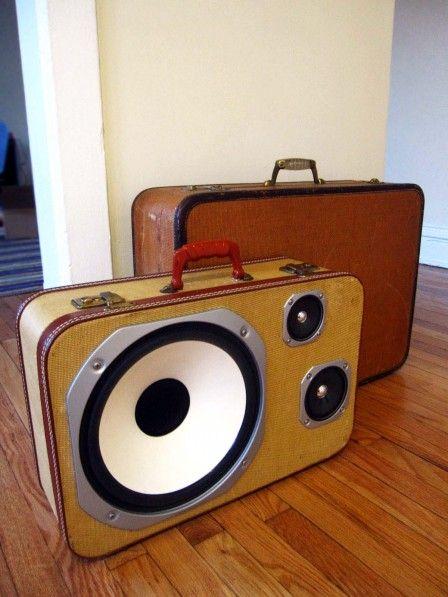 repurposed!: Music, Ideas, Vintage Suitca, Old Suitcases, Vintage Wardrobe, Reuse Recycled, Speakers, Vintage Luggage, Crafts