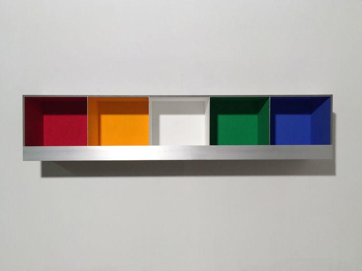5 COLOUR BOXES, 2016, Valchromat, aluminium, acrylic paint and LED lamps, 26.8 x 127.3 x 23.2 cm