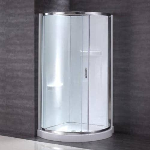 "Miseno MSD3878KIT 78"" High x 38"" Wide Framed Shower Door Enclosure for Corner Installations - Acrylic Shower Base and Shower (chrome / frosted (Grey/Frosted))"