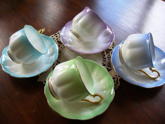 Royal Albert Tea Set ... Set of 4 Cups and by DecorativeVintage