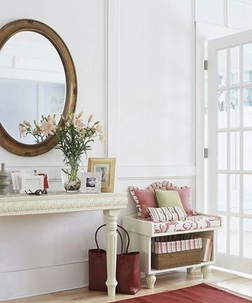 Wall-Mount Console in a Narrow Entry: The simple, elegant look and the everyday utility of this space is amazing!  (Wall-Mount Console in a Narrow Entry)
