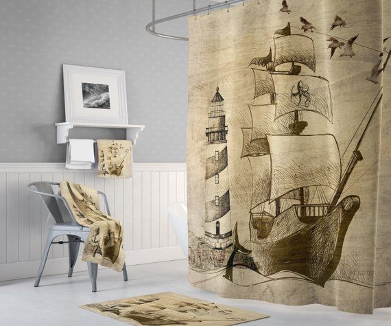 Nautical Old Ship And Lighthouse Shower Curtain With Optional
