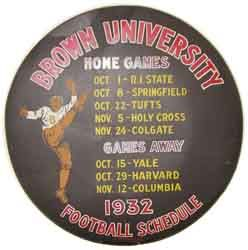 Spare tire cover advertising the Brown University 1932 football season.