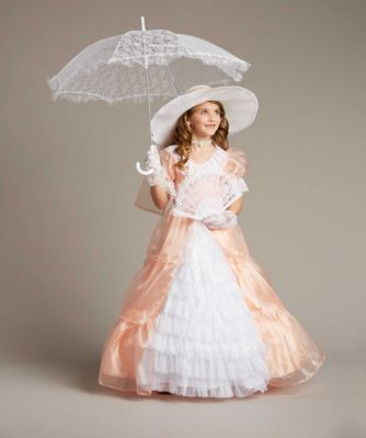 Girls Southern Belle Costume - Exclusively Ours - Well, ah do declare, your little lady will be the sweetest belle you've ever set eyes on. This charming confection is a shimmery peach organza trimmed with delicate lace and ruffly tiers for plenty of flounce. The separate sash ties into a big bow. A fetching hat, lace accessories and set of pearls finish your look. Wishcraft by Chasing Fireflies