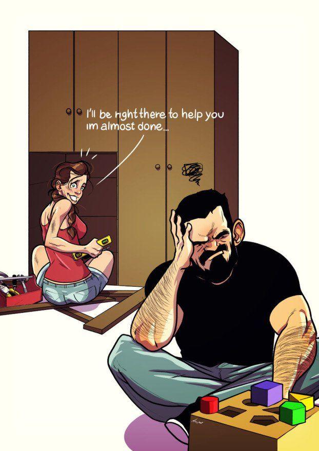 Ein Künstler hält seinen verrückten Alltag mit seiner Frau in diesen Comics fest. LOL! – Norbert Fahrenkrug