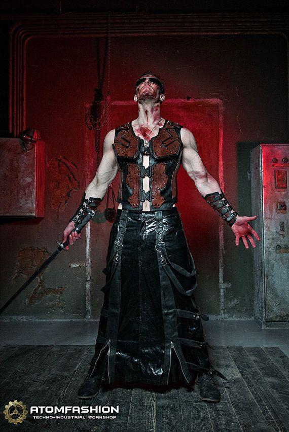 Techno-gothic mannen lederen vest 'Blade' van Atomfashion op Etsy