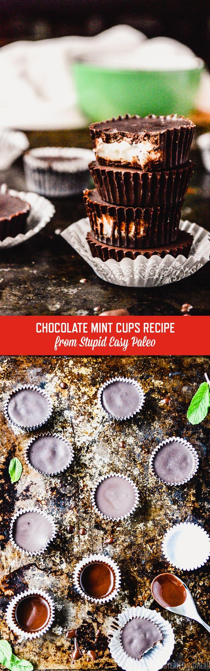 Dark Chocolate Mint Coconut Butter Cups | StupidEasyPaleo.com