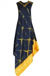 MEGHA & JIGAR  Navy Blue and Yellow Sibori Drape Dress