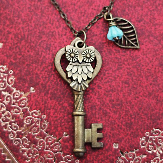 Antique Keys Owl leaf necklace,owl jewelry,Skeleton Keys,Steampunk Key Necklace on Etsy, $9.50