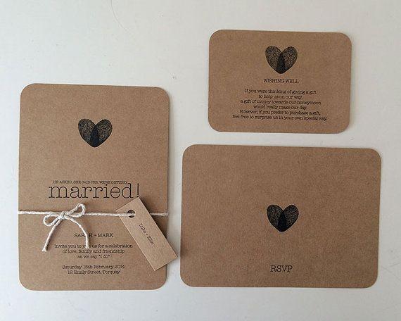 PRINTABLE ARTWORK - Wedding Invitation Set - Kraft Brown Paper - Custom Made to Order Invitation