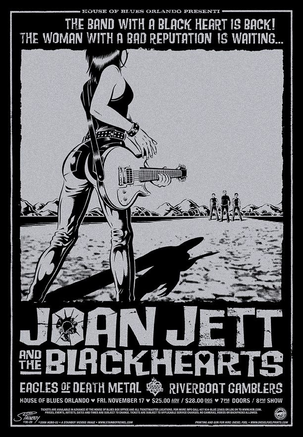 "Joan Jett and the Blackhearts with guests Eagles Of Death Metal and Riverboat Gamblers • House of Blues, Orlando FL, 11/17/06 • 22"" x 32"" silk screen with silver metallic ink on black paper. Edition of 230. ©2006 Greg Stainboy Reinel"