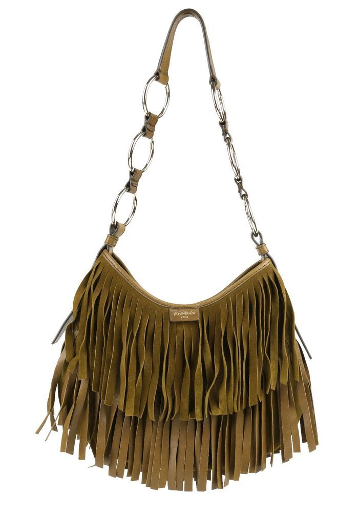 Yves saint laurent st tropez mombasa fringe olive green leather ...