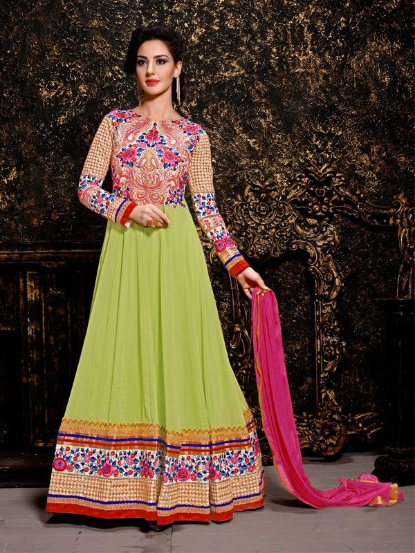 Ravishing Liril Green And Pink Colored Georgette Salwar Suit - Designer Salwar Suits - Salwar Suits