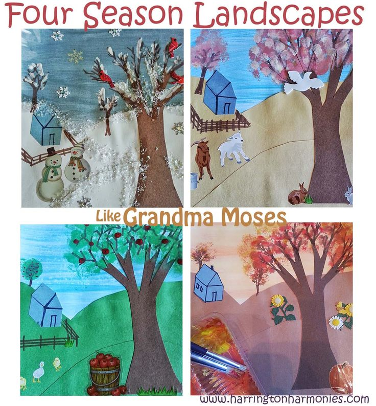Terrific Grandma Moses for kids lesson on making seasonal landscapes in Grandma Moses style. Uses perspective and overlapping and teaches layering.