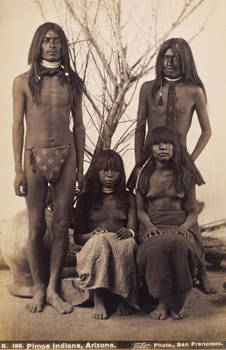 Pimo Indians, Arizona, Elias Bonine, 1875 | Early Pictures - 2 brothers and their wives? ... or a family of 4 siblings? I wonder how the loin cloth of the man on the left is patterned - fine hand-weaving? And what is that object that he is standing in front of?