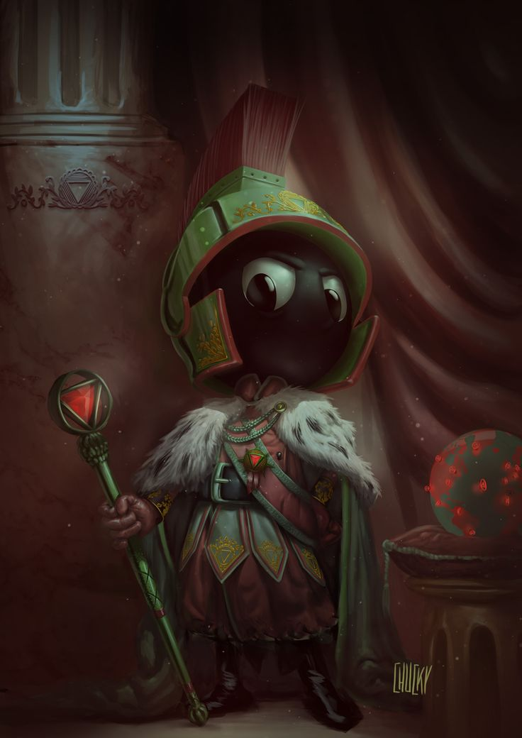 Marvin The Martian Channels Napoleon In This Glorious Royal Portrait. - Earth's diminutive would-be destroyer plots his next move in this perfect imperial portrait. In this picture, he's already emperor of Mars and he's ready to change the solar system to his liking.