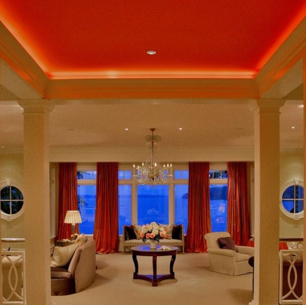 Awesome Living Room Design to Your House: Awesome Living Room Decoration With Colorful Ceiling And Drape