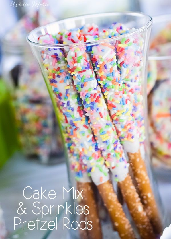 cake mix and sprinkles pretzel rods are SO easy to make and all the kids love them
