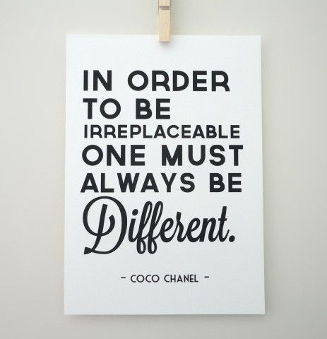 Art Print Coco Chanel Quote Always Be Different Archival A4 Print