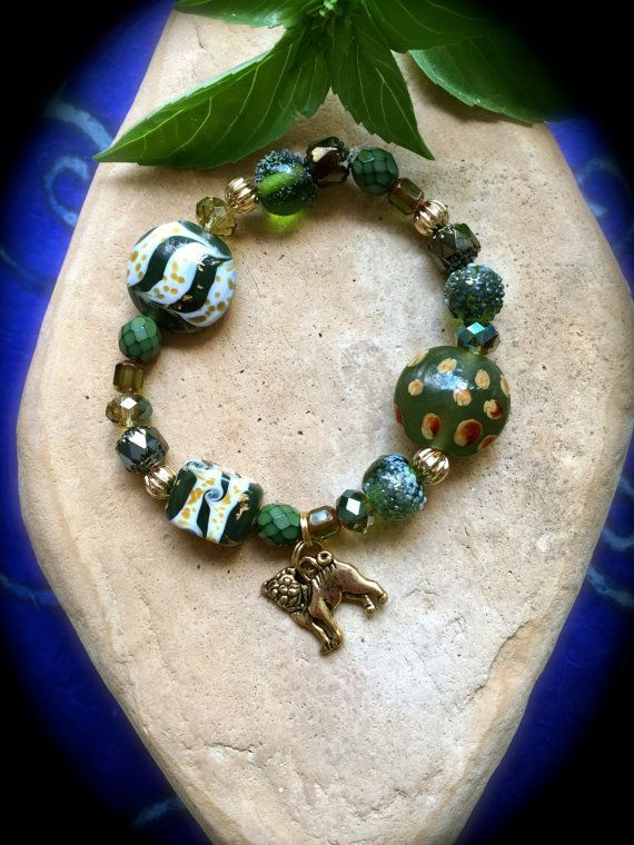 OLIVE and GOLD Pug Rescue Bracelet  by WhimsicalMystical on Etsy