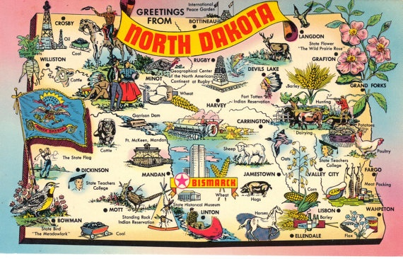 North Dakota State Map Vintage Postcard By Heritagepostcards - North dakota in usa map