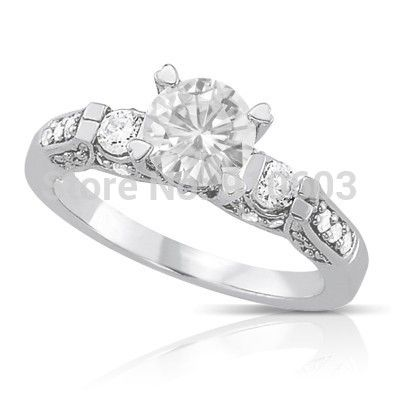 Center 1 Carat Round Brilliant Simulated Diamond Engagement Ring For Women Solid 9K White Gold Wedding Ring Of Army Style