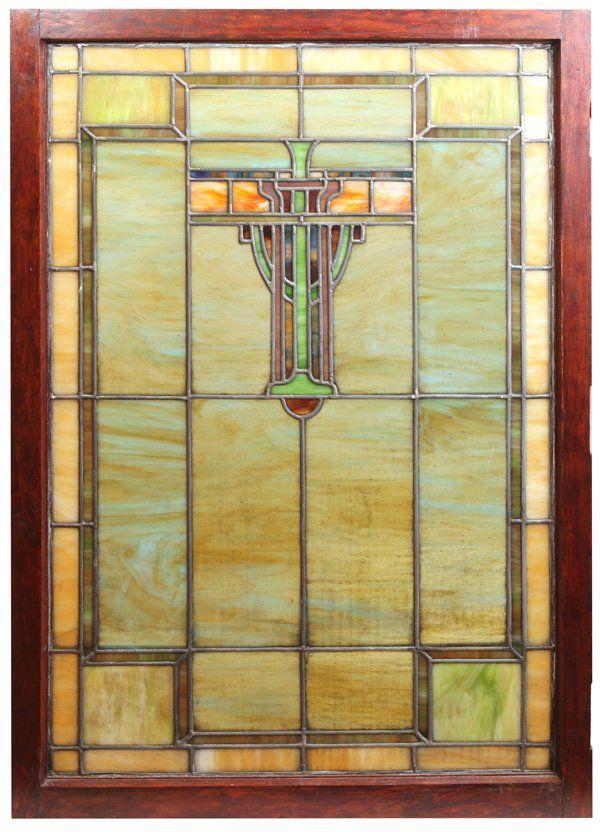 Prairie School Arts & Crafts Stained Glass Window