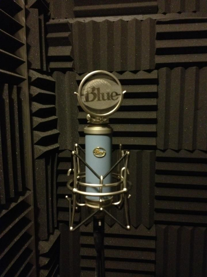 Recording booth in home studio.