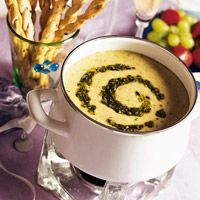 Pesto-Cheese Fondue  - I would substitute pine nuts for the walnuts for traditional pesto flavor