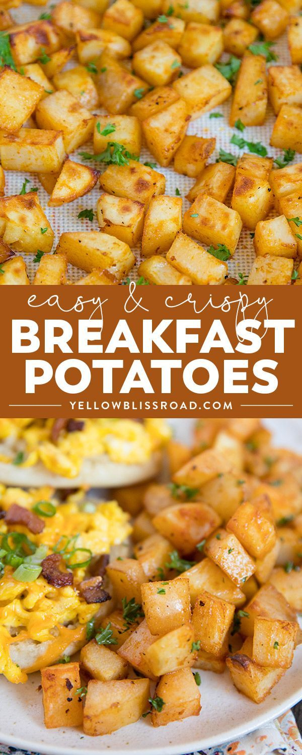 Crispy, fluffy and delicious Easy Breakfast Potatoes are baked in the oven and are the perfect side dish for any meal | Potato Recipes | Breakfast Recipes via @yellowblissroad
