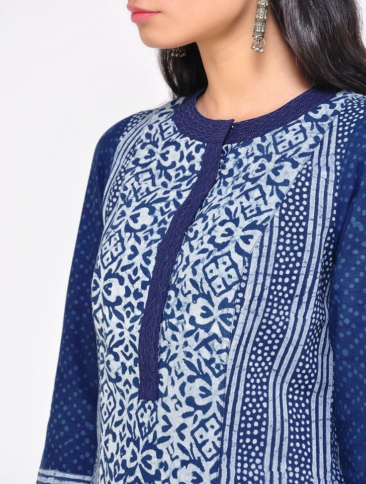 Buy Indigo Parallel Cotton Kurta Online at Jaypore.com